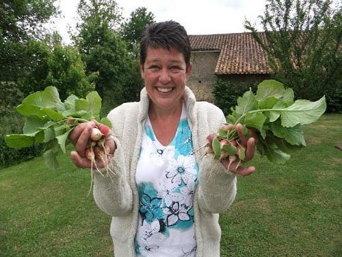 Julie grows her own veg at La Germondière