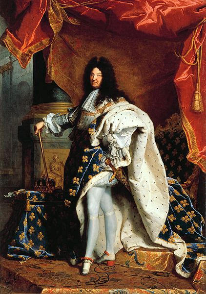 Painting of Louis XIV of France posing in royal robes of ermine