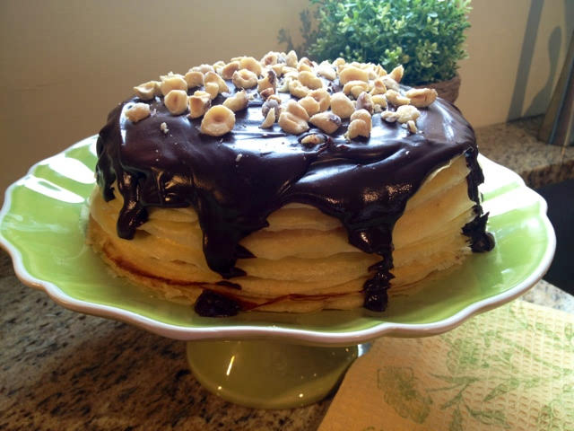 Hazelnut and chocolate crepe cake
