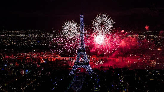 Bastille Day Paris fireworks at Eiffel Tower