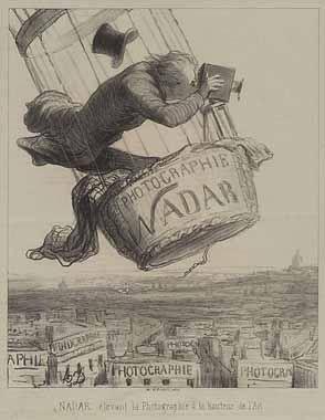 Jules verne, illustration of balloon of Felix Nadar CC Wikipedia