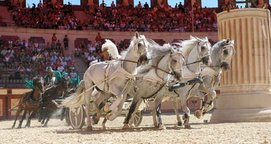 The Roman show at Puy du Fou amazing historic theme park France