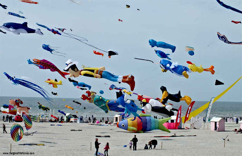 Beach with hundreds of kites flying of all sizes including giant for a kite festival in northern france