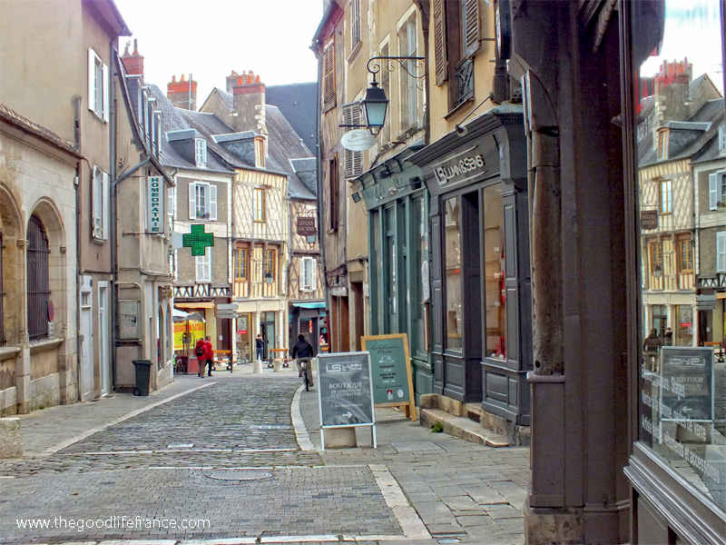 Street view in Bourges, Loire Valley, cobbled street, half timbered buildings