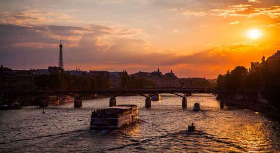 Paris as the sun goes down
