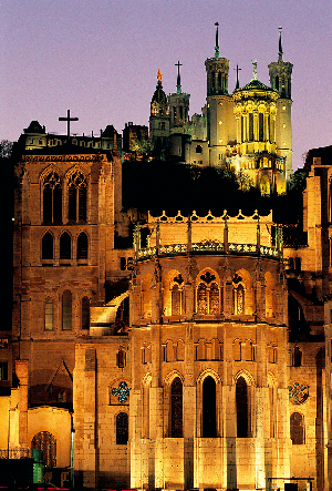 The Cathedral of Lyons lit up at dusk