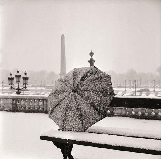 snow in paris photo