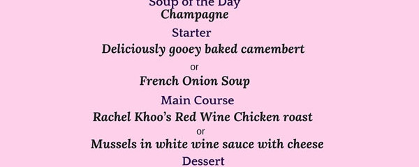 Romantic French Menu