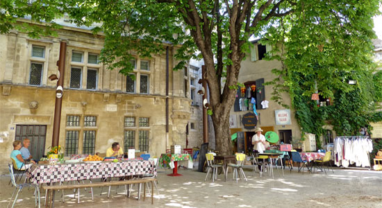 Small and colourful street market in St Remy de Provence France