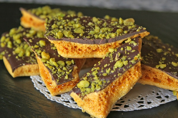 Chocolate Honeycomb With Pistachio Crumb Recipe From