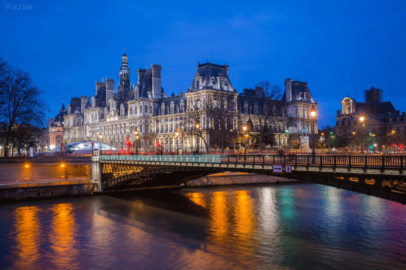 Hotel-deVille,-Blue-Hour,-Paris