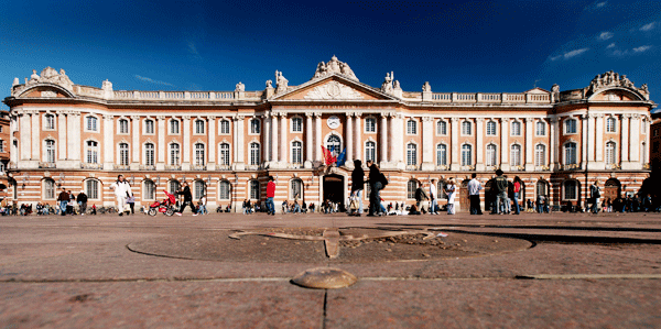 The pink and white stone building the Capitole, Toulouse