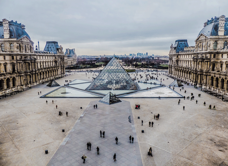 Louvre Museum view of the building set around a grand square