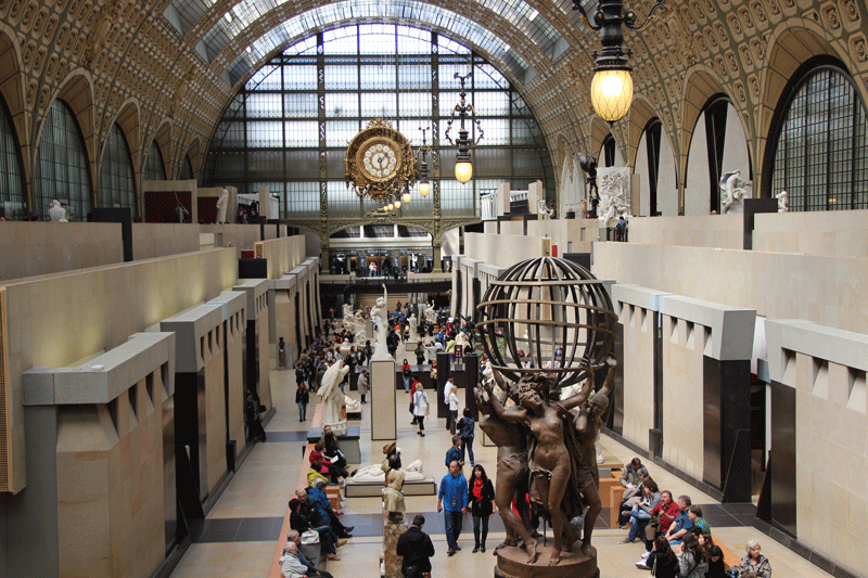 View of the Orsay Museum, Paris, main gallery, once a train station, the station clock is at one end