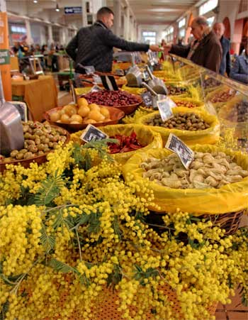 Bunches of mimosa on display at a market stall in Cannes, France