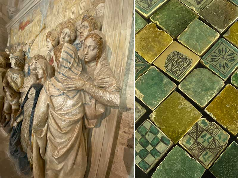Details of sculptures and centuries old floor tiles in the Palais des Papes, Avignon