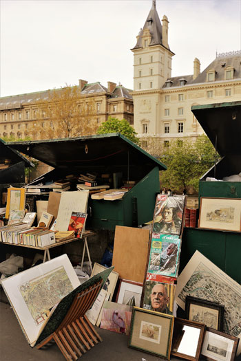 Second hand book stalls along the Seine River Paris