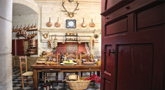 Open door to the kitchen of the Chateau de Brissac, Loire Valley