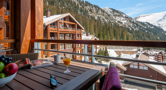 Balcony of apartment overlooking ski slopes of Flaine French alps