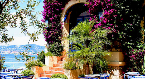 Entrance of the hotel Belles-Rives in Antibes with purple bougainvillea growing round the door