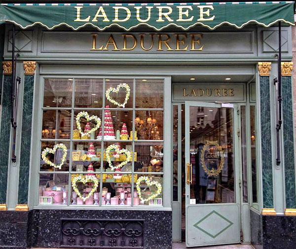 Shop window of Laduree patisserie Paris
