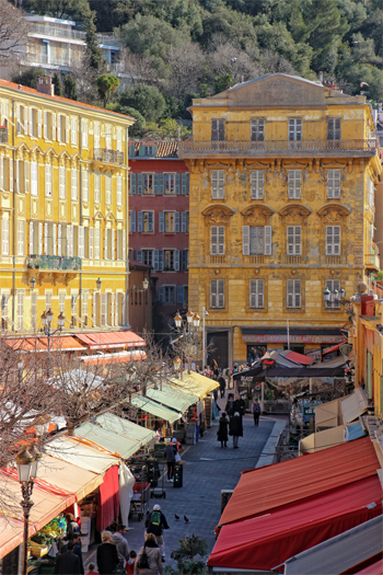 Coursa Saleya, the Nice Market square lined with pastel coloured buildings