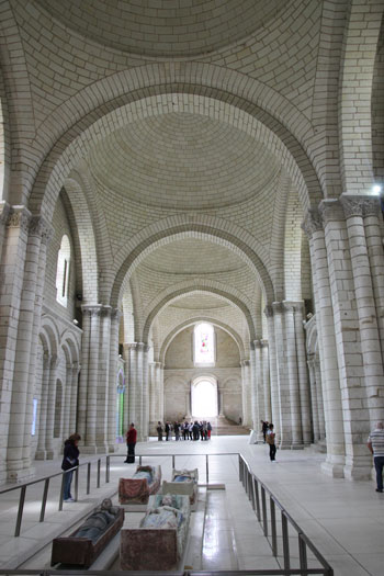 White stone nave of the abbey of Fontevraud, Loire Valley