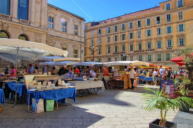 Nice market under a blue sky