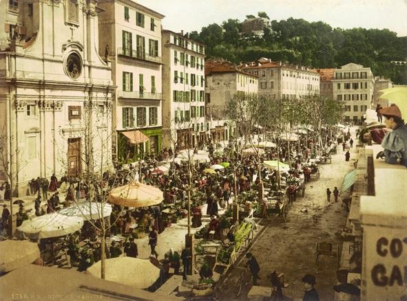 old photo of Nice market taken around 1890