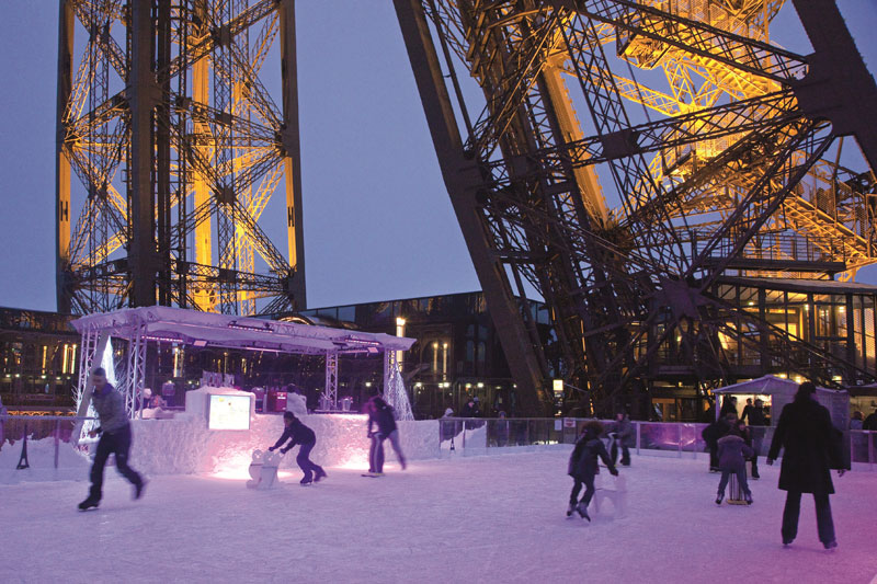 ice skating in Paris at the foot of the Eiffel Tower