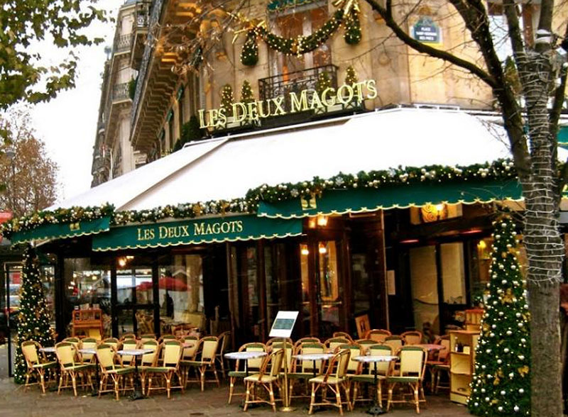 The Deux Magots cafe in Paris at Christmas