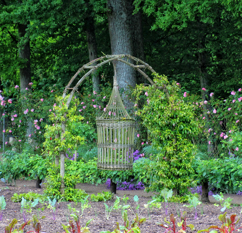 beautiful wicker work sculptures in the vegetable garden of the castle of Chenonceau