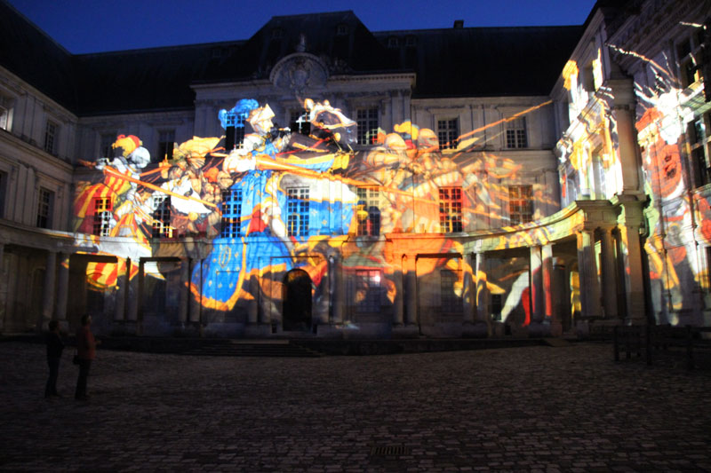 Sound and light show projected onto the ancient stone walls of Blois Castle, Loire Valley
