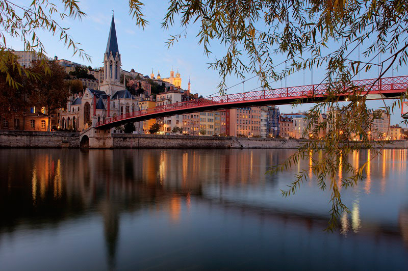 Bridge over the river Garonne in Lyon leading from the city centre to the historic centre