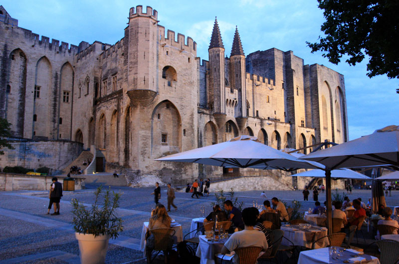 Palace of the Popes in Avignon at dusk