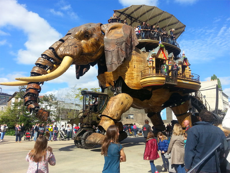 Giant mechanical elephant roams the streets at a quirky theme park in Nantes France