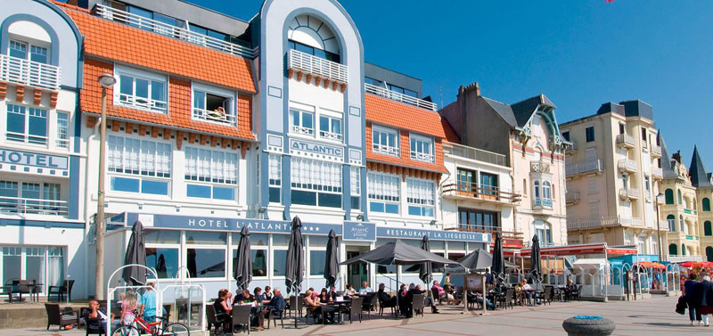 Belle Epoque style facade of a hotel in Wimereux, northern France