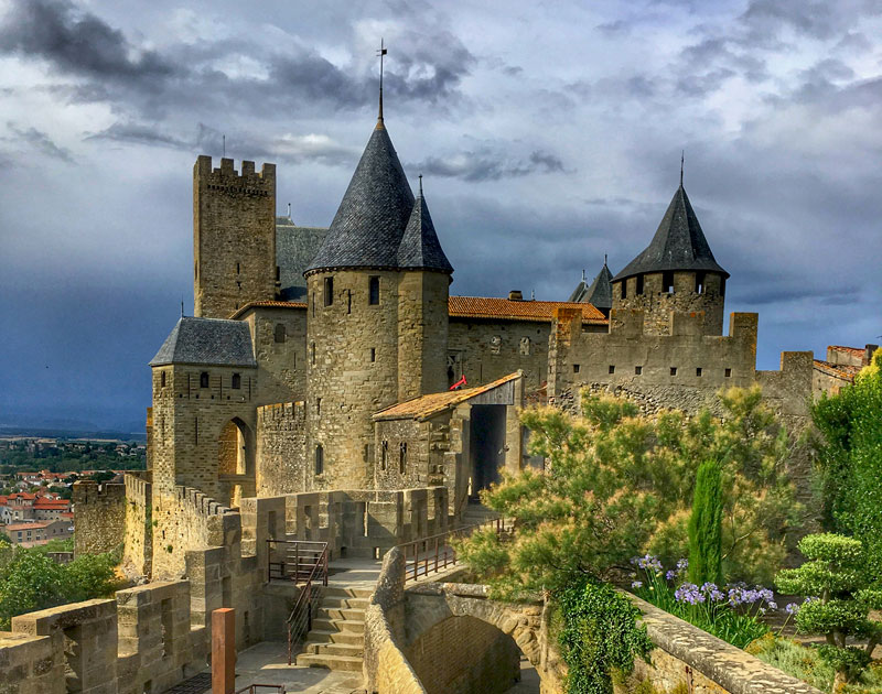 Towers and turrets reach for the sky at the Citadel of Carcassonne, southern France