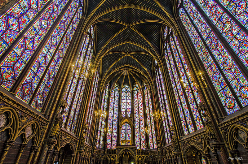 Hundreds of stained-glass windows in the vaulted Chapel of Sainte-Chapelle in Paris