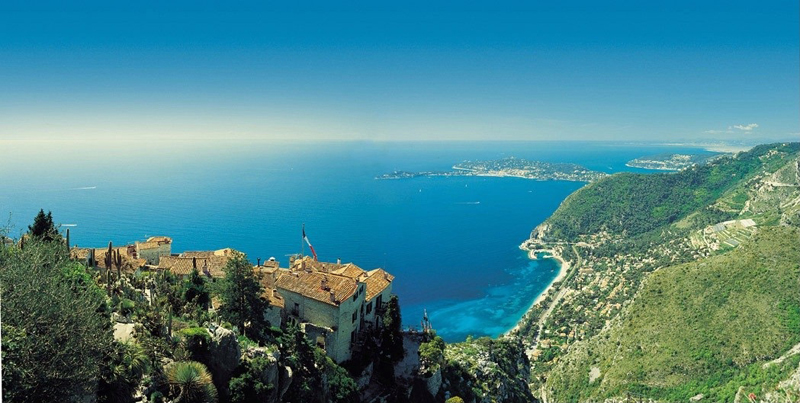 View from the top of the village of Eze over the Mediterranean Sea