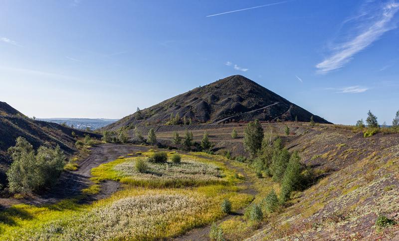 Coal slag heaps showing signs of vegetation mark the landscape of Lens, northern France