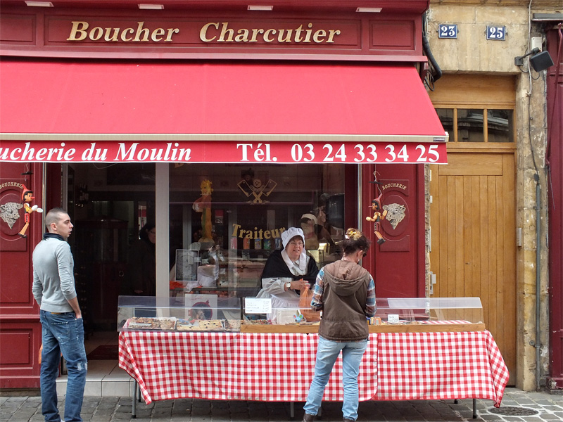Frontage of a traditional butchers store in France