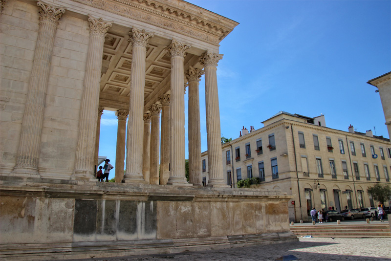 Creamy stone of the Roman Temple Nimes France