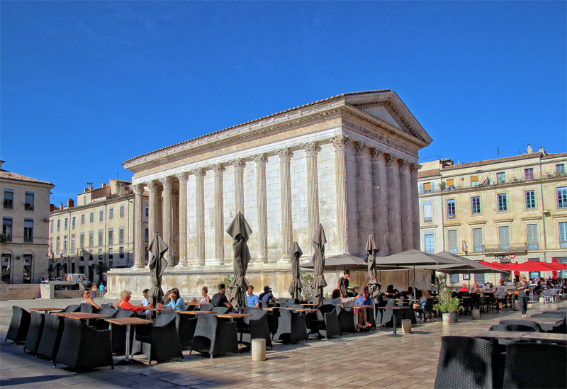 Beautifully preserved Roman temple in Nimes, southern France