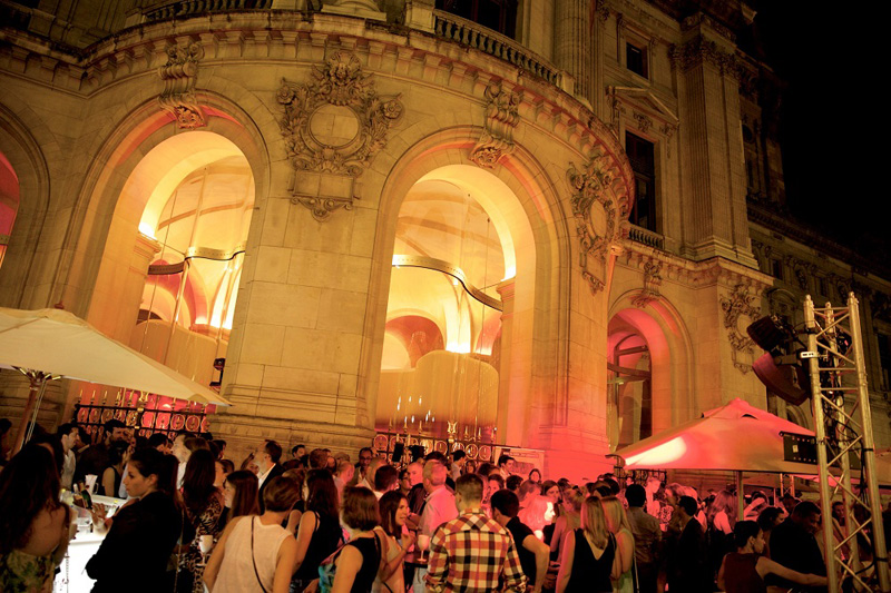 Paris Opera and a bar on the terrace, packed with trendy Parisians