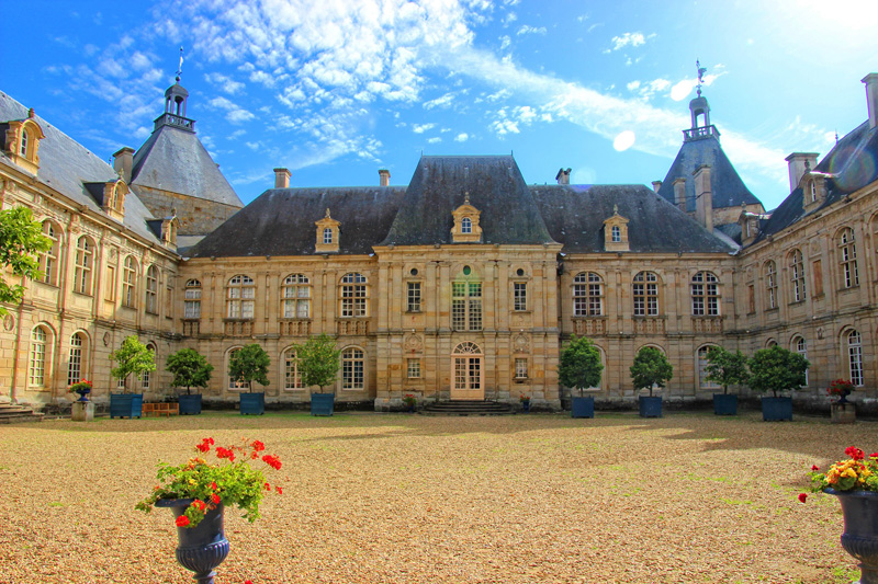 The courtyard of the Chateau de Sully, once said to be the most beautiful in France