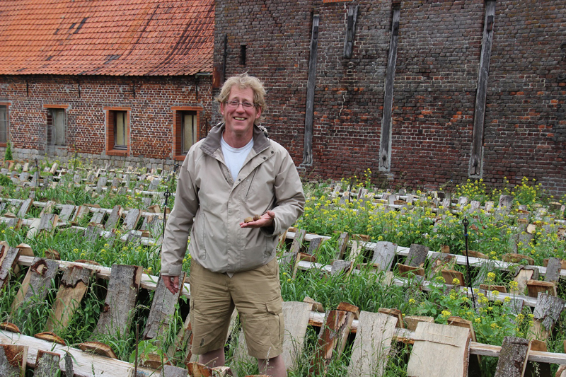 Mike Collins, a British expat in France, at his snail farm in northern France