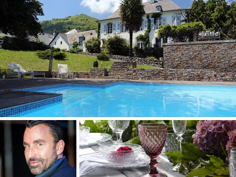 Swimming pool of a gorgeous mansion house in the mountains of the midi Pyrenees France