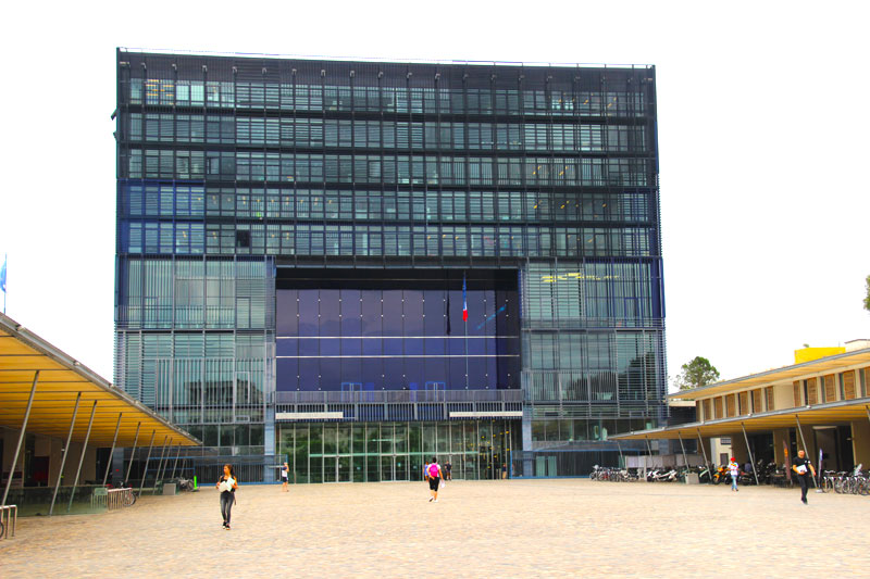 Town hall of Montpellier which is built of glass of different blues, very modern and very striking