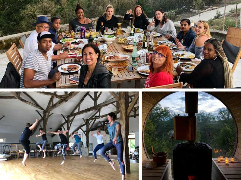 People dancing in a studio, relaxing in a sauna, enjoying dinner in a garden at a retreat in France